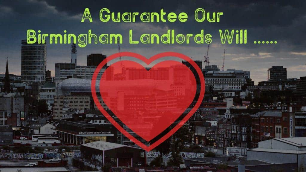 A guarantee that birmingham landlords will heart (text and graphic overlayed onto city background) for guaranteed rent birmingham.